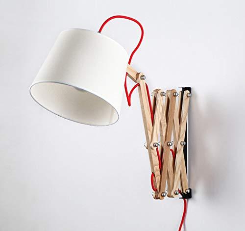 Wandlampe Vintage Scherenlampe Ausziehbar Flexible Leselampe Wandlampe Holz Wandleuchte Innen Schlafzimmer Nachttischlampe mit Schalter E27,Weiß