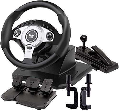 QDY 900 ° Racing Game Volante Simulatore di Guida per Camion Professionale Set Freno a Mano + Pedale Frizione Compatibile PC Laptop Windows, Nero