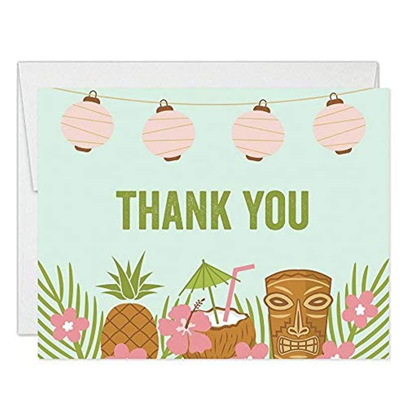 Luau Tropical Theme Thank You Cards with Envelopes ( Pack of 25 ) Folded Blank Island Palm Tiki Party Thank You Notes Graduation 30th Birthday Retirement Gift Thanks Notecards Excellent Value VT0021B