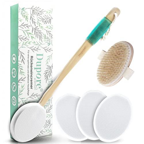 DUPORE - Supporto per crema per la schiena, ottimo aiuto per la schiena, cura rilassata, 4 cuscinetti intercambiabili + spazzola a secco, perfetto per rimuovere la pelle morta
