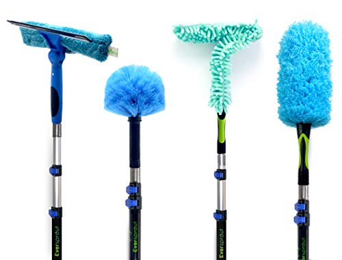 EVERSPROUT 4-Pack Duster Squeegee Kit with Extension-Pole (20+ Foot Reach) | Swivel Squeegee, Hand-Packaged Cobweb Duster, Microfiber Feather Duster, Ceiling Fan Duster, 12 Foot Telescopic Pole