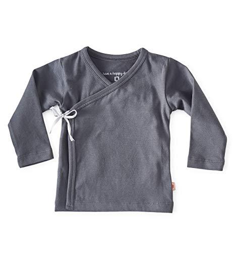 little label Wickelshirt Baby Flügelhemd Wickeltop anthrazit Bio-Baumwolle