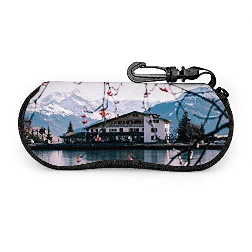 Custodia morbida per occhiali da vista Lago e splendido scenario Soft Shell, Custodia protettiva in neoprene ultra leggero per occhiali e occhiali da sole-SU