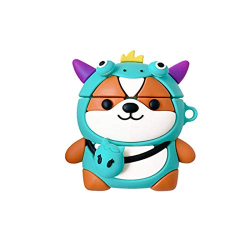 ICI-Rencontrer 3D Cute Blue Bag Shiba Inu Design Air pods Cover, Creavive Lucky Dog Animal AirPods Accessories, Wireless Earphone Soft Silicone Shockproof Protector Compatible with Airpods 1 & 2