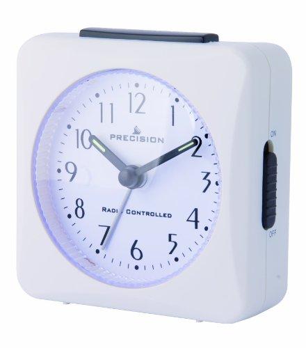 Precision PREC0050 - Reloj Despertador con radiocontrol, Funciona con 1 Pila AA, Color Blanco