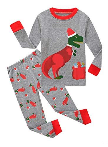 Family Feeling Little Boys Girls Long Sleeve Christmas Pajamas Sets 100% Cotton Pyjamas Toddler Kids Pjs Size 2T Dinosaur