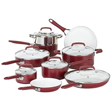 WearEver Ceramic Cookware, Red Pots and Pans, Scratch Resistant, Dishwasher Safe, Oven Safe Cookware Set, 15-Piece, Model C943SF