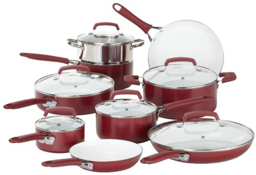 WearEver 15 Piece Ceramic PTFE PFOA & Cadmium Free Nonstick Cookware Set, Red