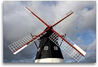Premium - Lienzo de lienzo (75 x 50 cm, horizontal), diseño de molino de viento en la isla de Mandà