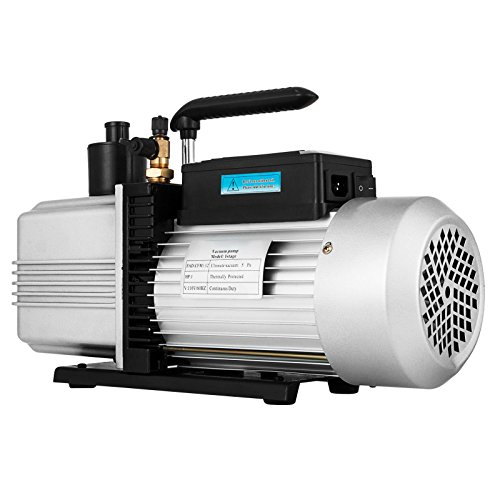 VEVOR Rotary Vane Vacuum Pump 12CFM 1HP Single Stage HVAC Auto AC Refrigerant Air Vacuum Pump Wine Degassing Milking Medical Food Processing Air Conditioning Vacuum Pump (1-Stage, 12CFM)