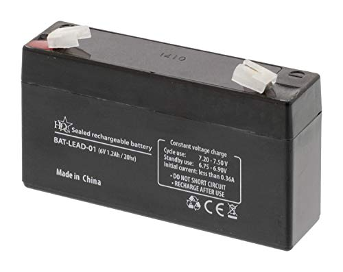 HQ BAT-LEAD-01 Batería recargable de plomo, 6V 1.2Ah/20hr