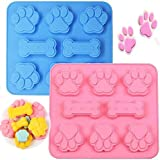 2 Pack Silicone Puppy Treat Molds, Puppy Dog Paw and Bone Baking Molds for Chocolate, Candy, Jelly, Biscuits, Cube, Dog Treats