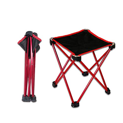 HMJZ Kleine opklapbare stoel, draagbare lichtgewicht waterdichte outdoor snel opvouwbare camping vissen reizen wandelen picknick strandstoel kruk 24 * 24 * 28 cm, rood