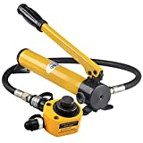 NEWTRY 20 ton Low Profile Hydraulic Jack Cylinder + Hand Pump Stoke 30mm(1.18 inch) Mini Protable Hydraulic Ram Industrial Thin Lifting Jack, not for Car (20T Hydraulic Jack + cp-180 Pump)