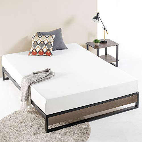 ZINUS GOOD DESIGN Award Winner Suzanne 10 Inch Metal and Wood Platforma Bed Frame / No Box Spring Needed / Wood Slat Suport, Grey Wash, Full