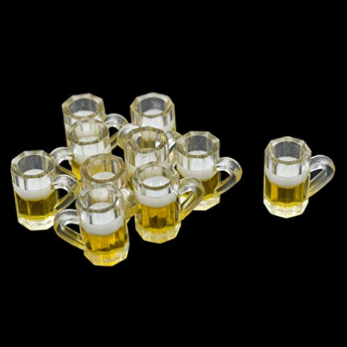 Hongma 1/12 Scale Mini Bierkrug Set Harz Puppenhaus Küche Möbel 10 Stück