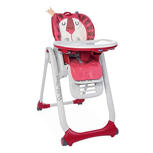 Chicco Polly2Start Trona y Hamaca para Bebés 0 Meses - 3 Años (15 kg), Trona Ajustable, Transformable y Compacta con 4 Ruedas, Respaldo Reclinable - Color Rojo León (Lion)