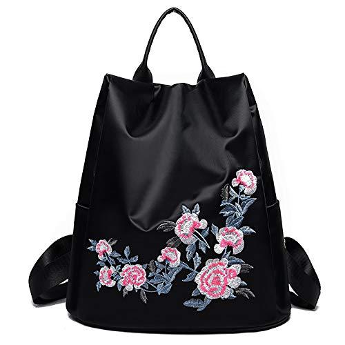 Mochila de gran capacidad con flores bordadas étnicas, bolsos de un solo hombro