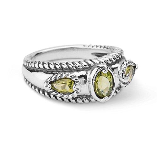Carolyn Pollack Sterling Silver Peridot Band Ring, size 8