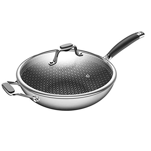 ZLDGYG Frying Basket & Steam Rack, Nonstick Copper Wok Pan with Lid, Ceramic Wok with Lid, Nonstick Frying Wok Flat Bottom, Induction Compatible (Size : 32)
