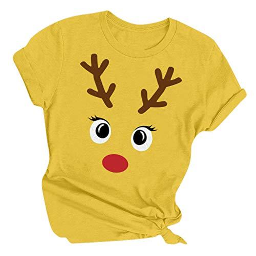 Lenfesh Sweatshirt Damen Frauen Weihnachtsbrief Gedruckt Rundhals Kurzarm T-Shirts Rundhals Ausschnitt Oversize Hemd Jumper Bluse Tops