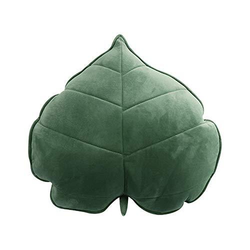 Nicole Knupfer Blatt Plüsch Kissen,Pflanze Dekokissen weichem Spielwaren 3D Plüschtier Geburstagsgeschenke Zierkissen (Grün,50cm)