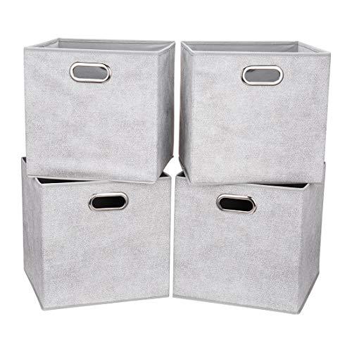 i BKGOO - Juego de 4 cubos de almacenamiento de tela gruesa con dos asas de metal para estanterías, armarios, organización, cubos de 33 x 33 x 33cm