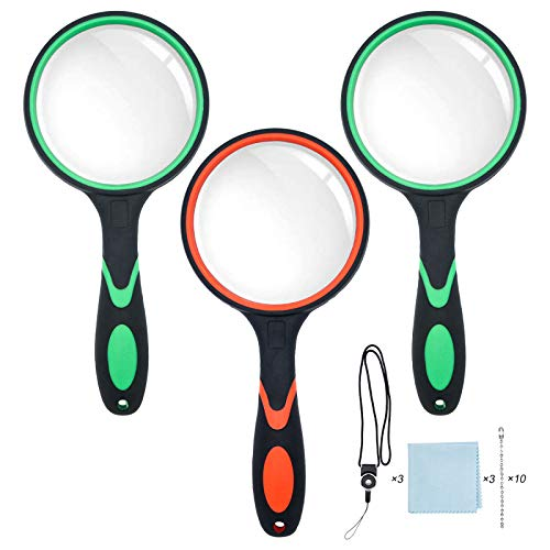 3 Pack 10X Magnifying Glass, 75MM Magnifying Lens & Non-Slip Handle with Rope Handheld Reading Magnifier for Kids…