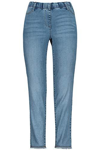 GINA LAURA Damen 7/8-Jeans Julia, Fransensaum, schmales Bein, Gummibund Blue Bleached 48 721571 92-48
