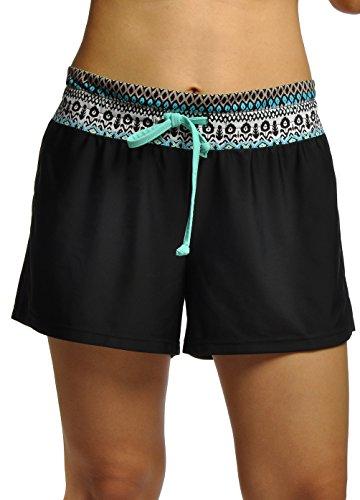 OUO Badeshorts Damen UV Schutz Schwimmen Bikinihose Wassersport Schwimmshorts Boardshorts Bluemenblau M