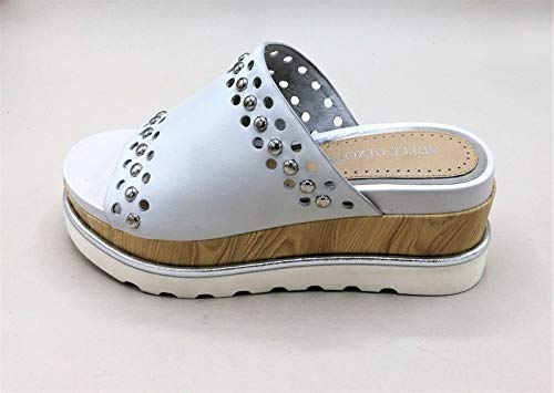 Adele Dezotti P0500 - Sandalias con plataforma de piel blanca y tachuelas con fondo de goma - Talla 39 (Ropa)