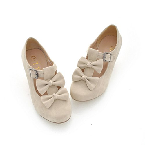 MFairy Woman's Low Heel Vintage Lolita Shoes Cute Bowknot Mary Jane Shoes Beige