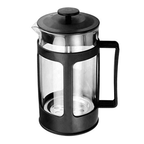 VHNBVHGKGHJ Kreatives Glas French Press Kaffeekanne Schwarz Kaffee Teekanne Manuelle Aufgüsse Schwarz 300ml