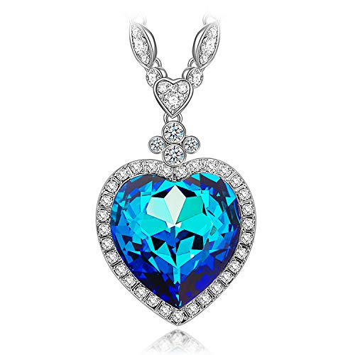 Kami Idea Muttertagsgeschenk Halsketten für Frauen Blauer Herzanhänger Swarovski Kette Damen Geschenk für Frauen Schmuck Damen Geburtstagsgeschenk für Frauen Partner Jahrestag Geschenke Modeschmuck
