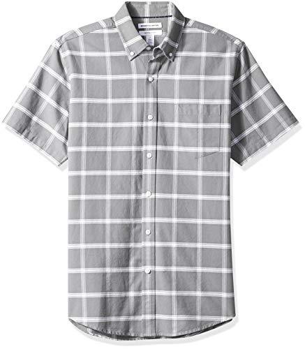 Amazon Essentials Herren Oxford-Hemd, reguläre Passform, Kurzarm, mit Brusttasche, Grau (Grey Windowpane Gre), XL