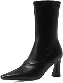 Enkellaarzen Dames, Dames Lakleren Laarzen, Puntige Dikke Damesschoenen Met Hoge Hakken,Black,42