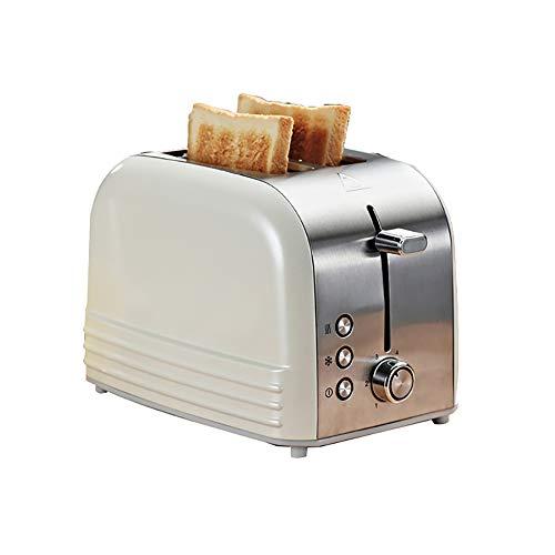 LIRONG Retro Toaster Home Breakfast Toaster Tostapane Multifunzione in Acciaio Inox Completamente Automatico 2 Pezzi di Macchina da Forno,White
