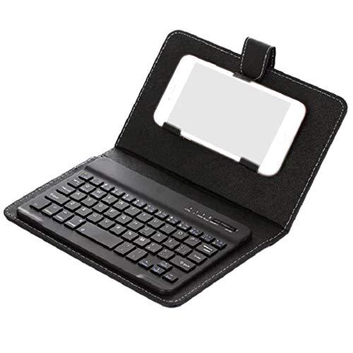 SODIAL Teclado Inalámbrico Bluetooth para Teléfono Móvil con Funda De Cuero PU Mini Inalámbrico Portátil Aluminio Ordenador Portátil Funda De Cuero - Negro