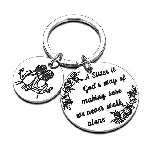 Sister Keychain, Sister Gifts from Sister, Best Sister Gifts for Big or Little Sister Birthday Graduation Soul Sister Jewelry - A Sister is God's Way of Making Sure We Never Walk Alone