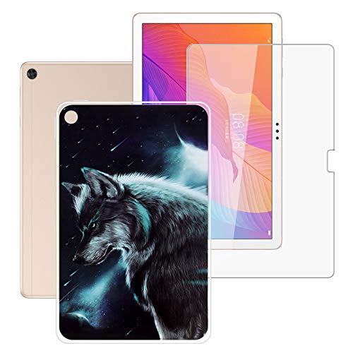 HHUAN Tableta Funda para Huawei Enjoy Tablet 2 10.1 Pulgadas con Cristal Templado Protector de Pantalla, Semi-Transparent Soft Silicone Carcasa TPU Cover Case - Charm Fox