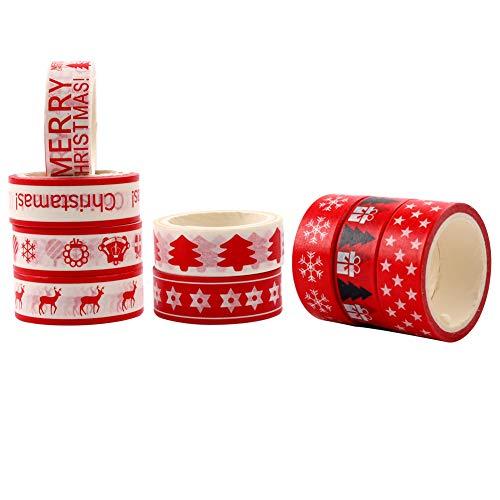 Pveath Nastro Natalizio Washi, 9 Rotoli Nastro Adesivo Decorativo Washi per Decorazioni Natalizie per Artigianato, Regalo, Album, Disegni Assortiti di Natale