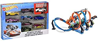 Hot Wheels 9-Car Gift Pack (Styles May Vary) AND Hot Wheels Corkscrew Crash Track Set