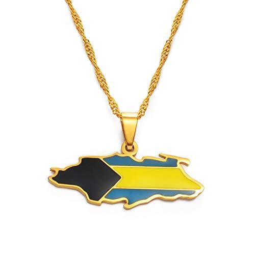 Mapa De Los Collares Colgantes De La Isla De Nassau - Encanto Africanos Mapas Étnicos Bandera Fina Cadena Collares, Patriótico Oro Color Mapa Hip Hop Joyería Para Mujeres Hombres Fiesta Regalo, O