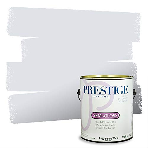 Prestige Paints Interior Paint and Primer In One, 1-Gallon, Semi-Gloss, Comparable Match of Sherwin Williams* White Iris*