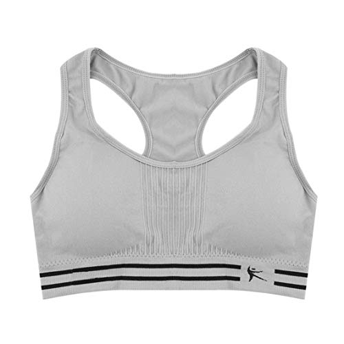 DDyna Sujetador Deportivo sólido de algodón Acolchado con Espalda Cruzada sin Costuras para Mujer Top sin Mangas de Entrenamiento elástico Acolchado para Yoga - Gris - L