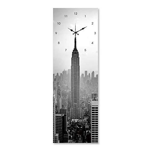 Cristal Templado con Reloj Gris Moderno para salón de 20 x 60 cm Factory - LOLAhome