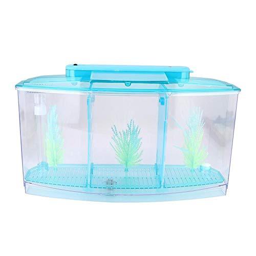 Pssopp Aquarium Isolatie Doos Acryl Breeding Hatchery Kleine Vissen Incubator Mini Vis Tank met Drie Divisies en LED Licht, Blauw