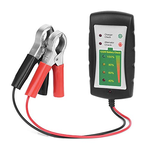 KKmoon Comprobador Alternador de Baterías,12V/24V DC Probador de Clip de Batería de Coche Diagnóstico de Alternador LED