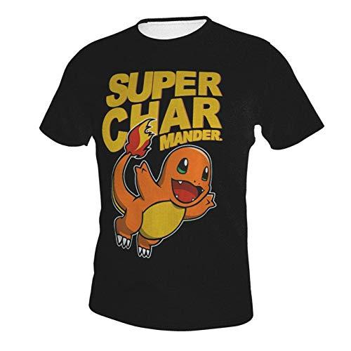 IUBBKI Camiseta básica de Manga Corta para Hombre Charmander Men's Crew Neck T-Shirt
