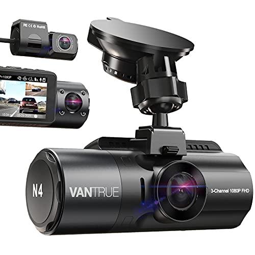 Vantrue N4 3-Kanal 4K Dash Cam, 4K + 1080P vorne und hinten, 4K + 1080P vorne und innen, 1440P + 1080P + 1080P Drei-Wege-Autokamera, IR-Nachtsicht, 24-Stunden-Parkmodus, Kondensator, unterstützt max. 256 GB